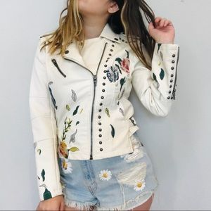 Blank NYC white embroidered leather Moto jacket